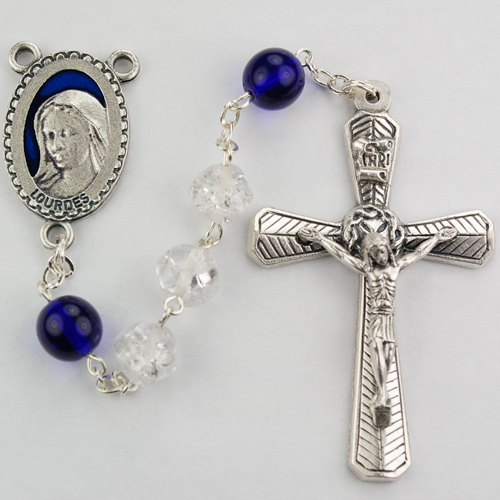 8MM Crystal & Blue Rosary/Boxed