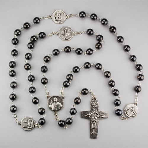 7MM Hematite Pope Francis Rosary
