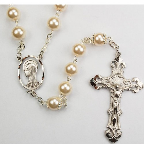 8MM Rhodium Pearl Rosary,Boxed