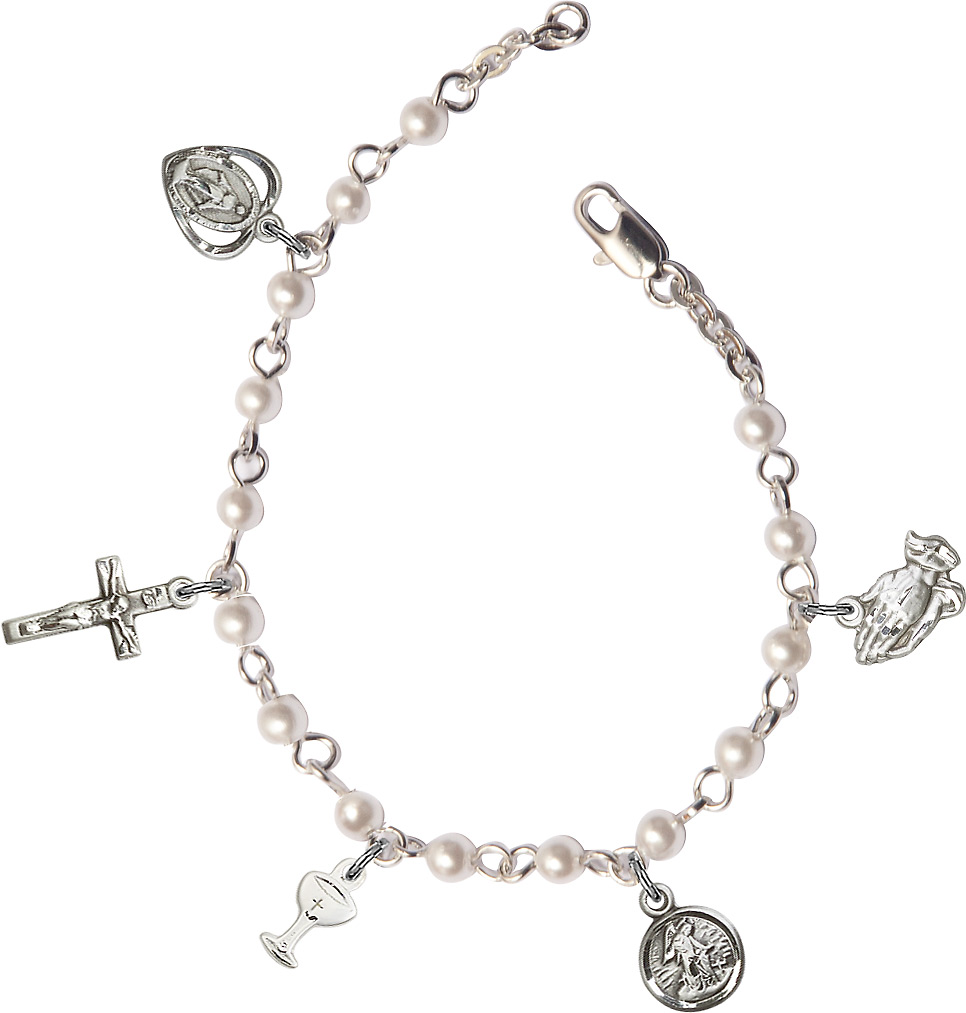 Silver Plated Rosary Bracelet with 4mm Heart Faux Pearl Beads.