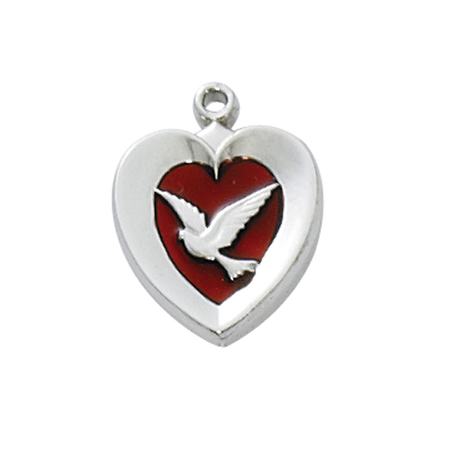 Rf Red Enamel Heart with Dove 18""