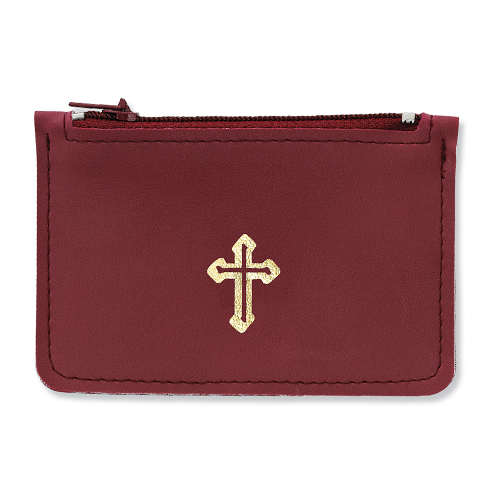 Burgundy Leather Rosary Pouch