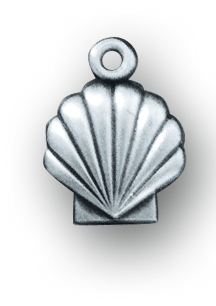 """1/2"""" Sterling Silver Holy Baptism Shell Medal with 13"""" Chain"""