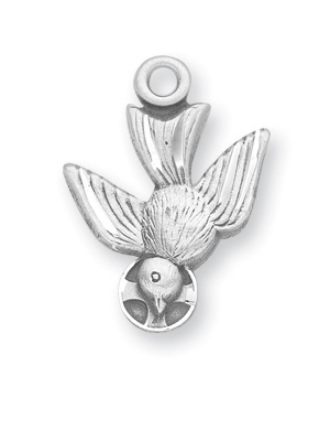 "3/4"" Sterling Silver Holy Spirit Medal with 18"" Chain"