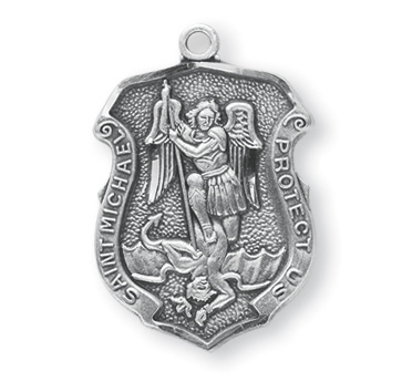 Sterling Silver Badge Shaped St. Michael Medal