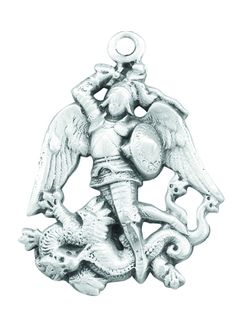 """Sterling Silver Saint Michael Medal on a 24"""" Chain. This Medal Comes in a Deluxe Velour Gift Box."""