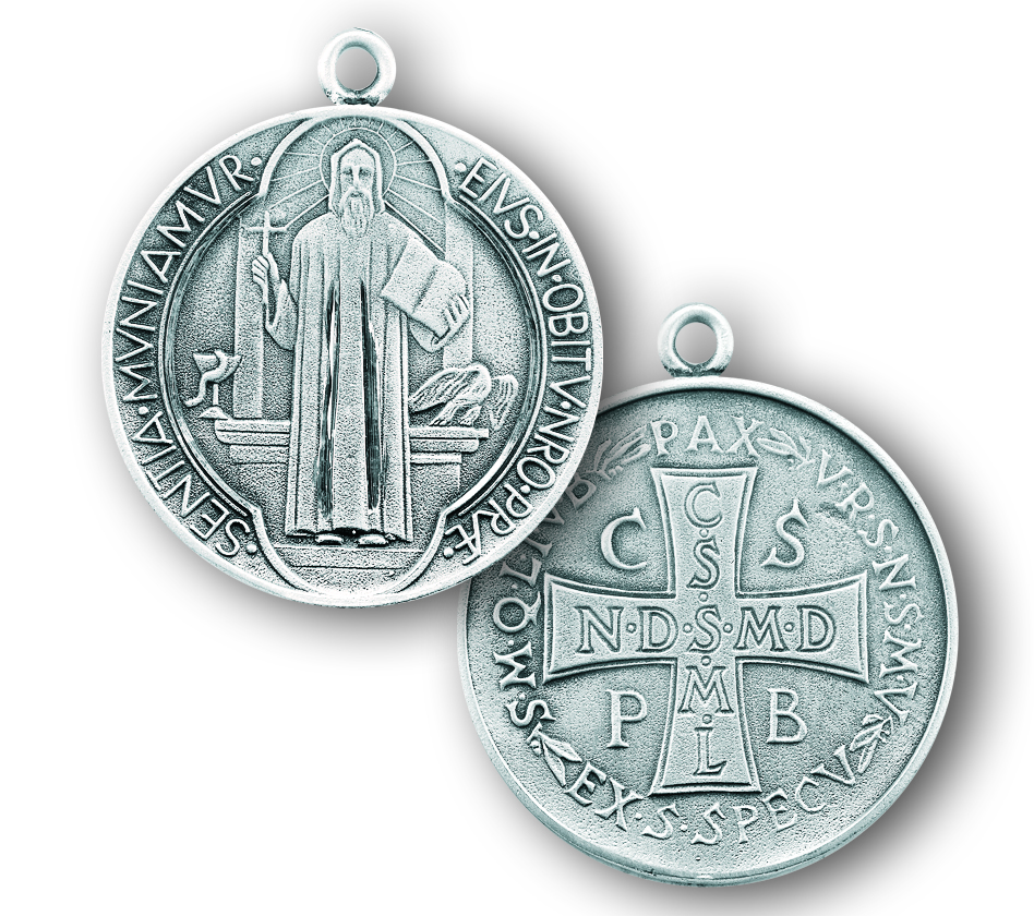 "1 1/2"" Sterling Silver St. Benedict Medal with 27"" Chain"
