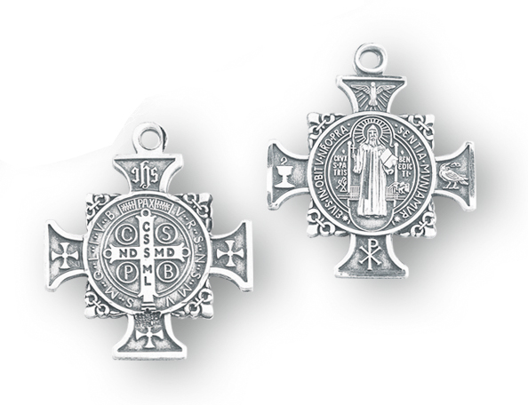 """1"""" Sterling Silver St. Benedict Cross Medal with 24"""" Chain"""