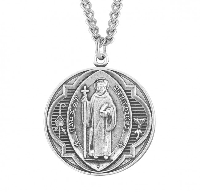 "1 3/8"" Sterling Silver St. Benedict Medal with 27"" Chain"