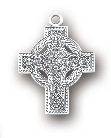 "1 1/16"" Sterling Silver Celtic Cross with 24"" Chain"
