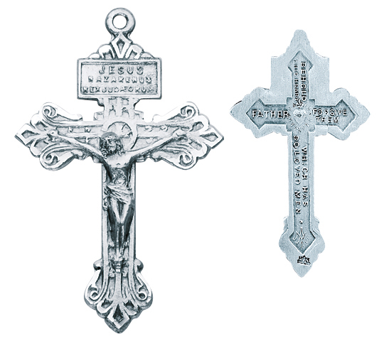 """1 1/2"""" Sterling Silver """"Pardon"""" Crucifix with 24"""" Chain"""