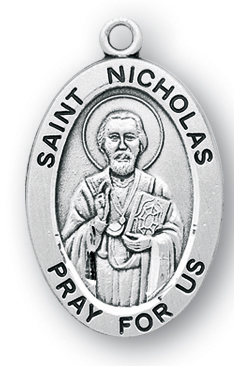 Sterling Silver Oval Shaped St. Nicholas Medal