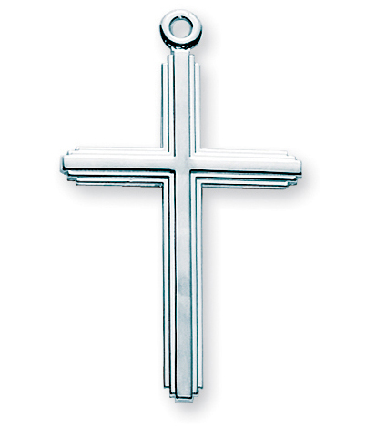"""1 1/2"""" Sterling Silver Cross with 20"""" Chain"""