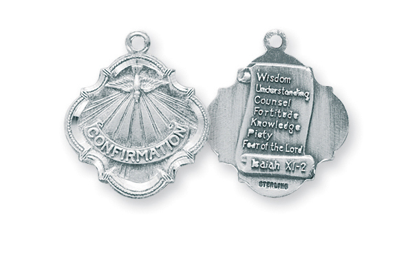 "3/4"" Sterling Silver Confirmation 7 Gifts of the Holy Spirit Medal with 18"" Chain"