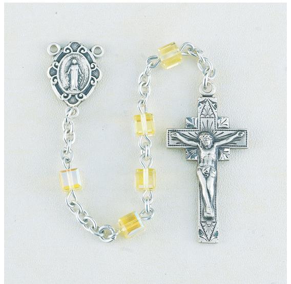 4mm Jonquil Swarovski Cube Sterling Rosary