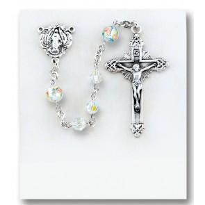 5MM Round Swarovski Crystal Sterling Rosary W/ Pink Rhinestone Flowered O.F. Beads-Bxd 64/112