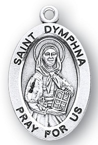 Sterling Silver Oval Shaped St. Dymphna Medal