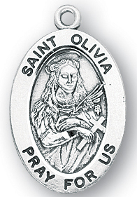 Sterling Silver Oval Shaped St. Olivia Medal