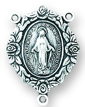 """1"""" Sterling Silver Miraculous Rosary Center"""