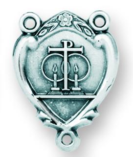 Sterling Silver Wedding Rosary Center