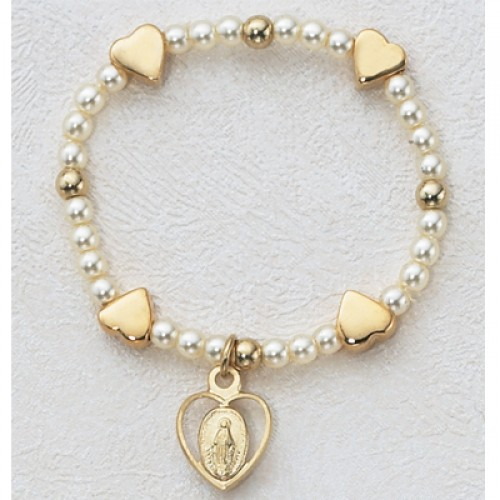 Gold over Silver Baby Heart Stretch Brac