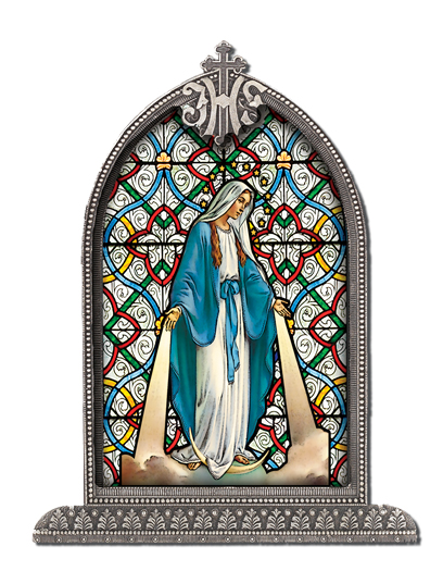 Our Lady Of Grace Silver Arch Framed Litergical Art