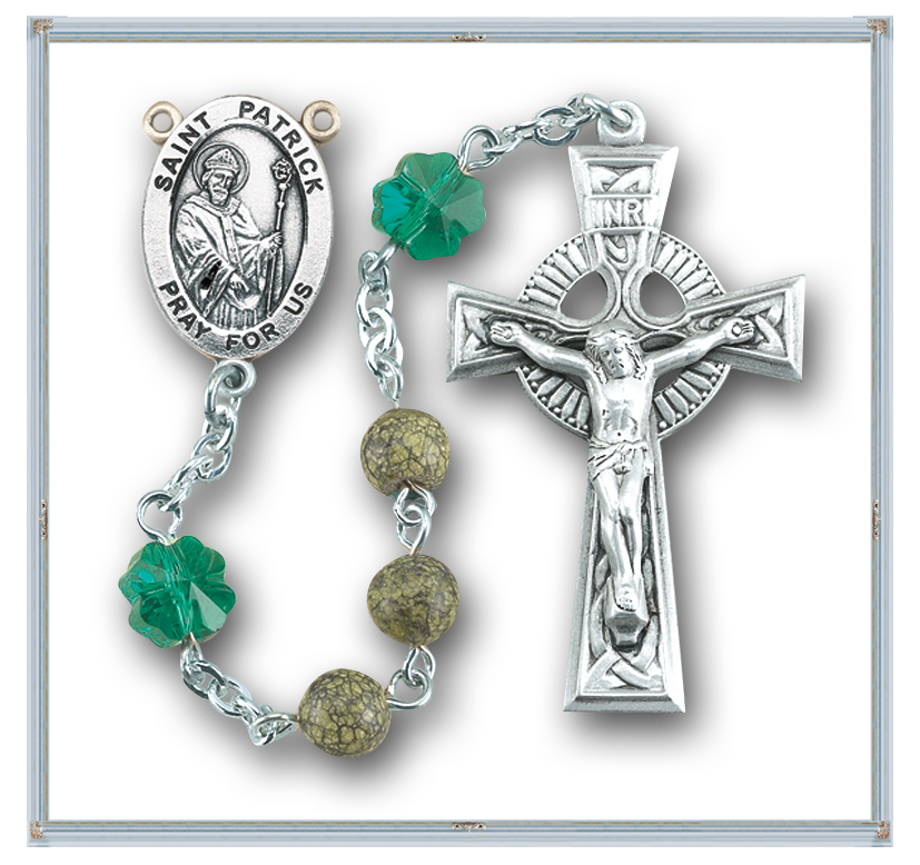 Genuine Green Side Stone Saint Patrick Rosary