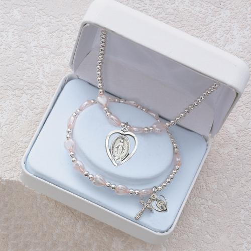 Pink Heart Pend & Bracelet Set