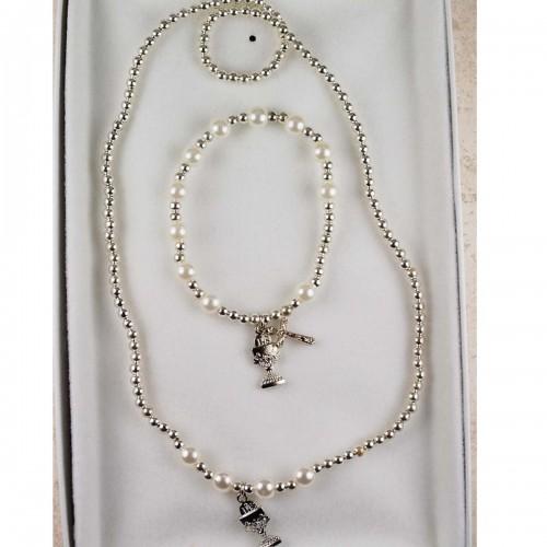 Pearl Pendant & Bracelet Set