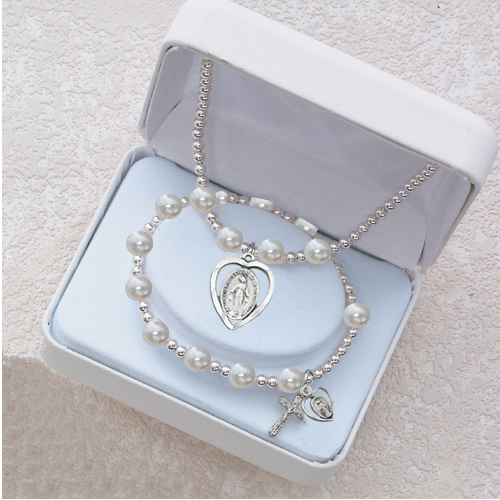 White Pearl Pend & Bracelet Set