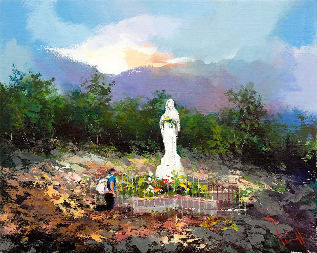 Apparition Hill painting of Holly Weller in Medjugorje.
