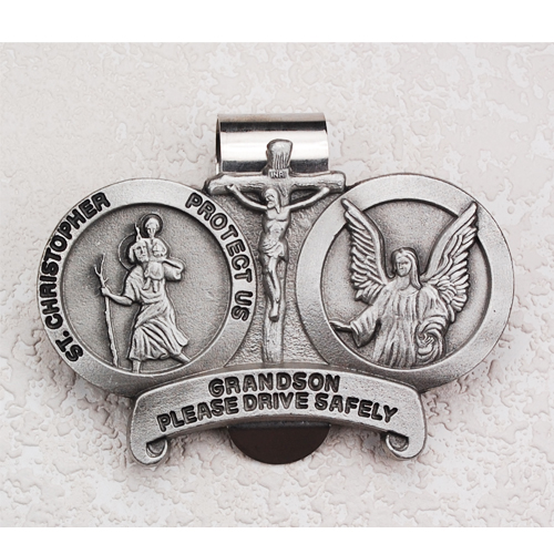 St. Christopher Grandson  Visor Clip