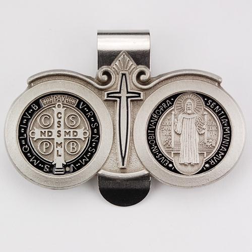 Pewter St. Benedict Visor Clip