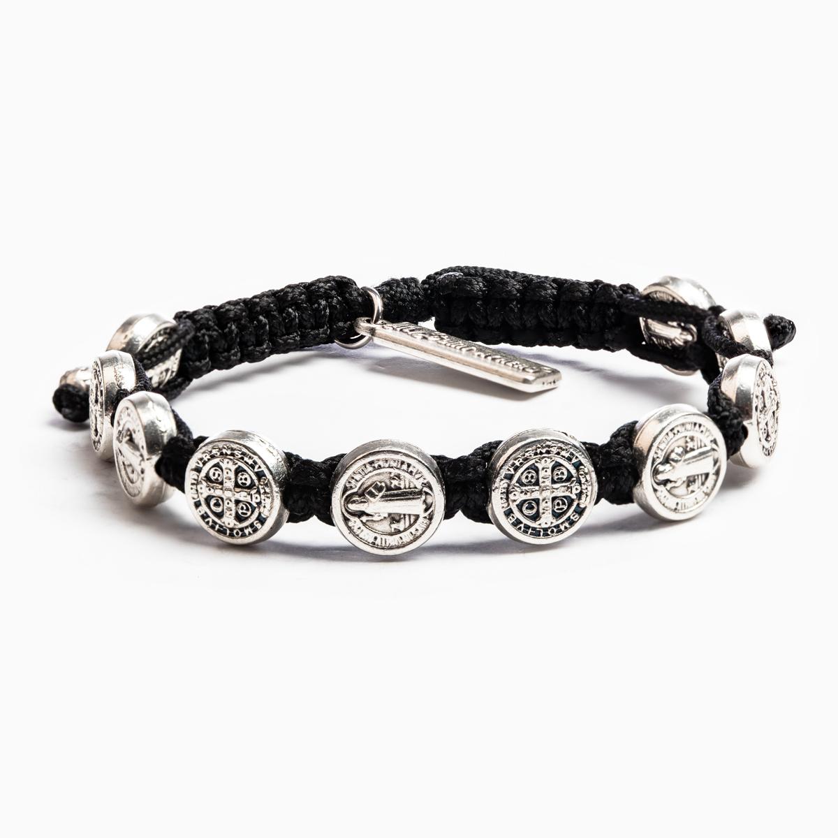 Black Confirmation Blessing Bracelet - Silver