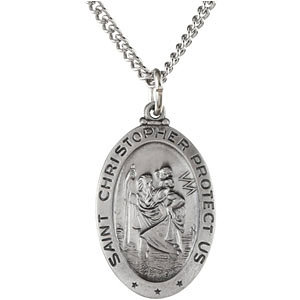 Sterling Silver Oval St. Christopher Pendant