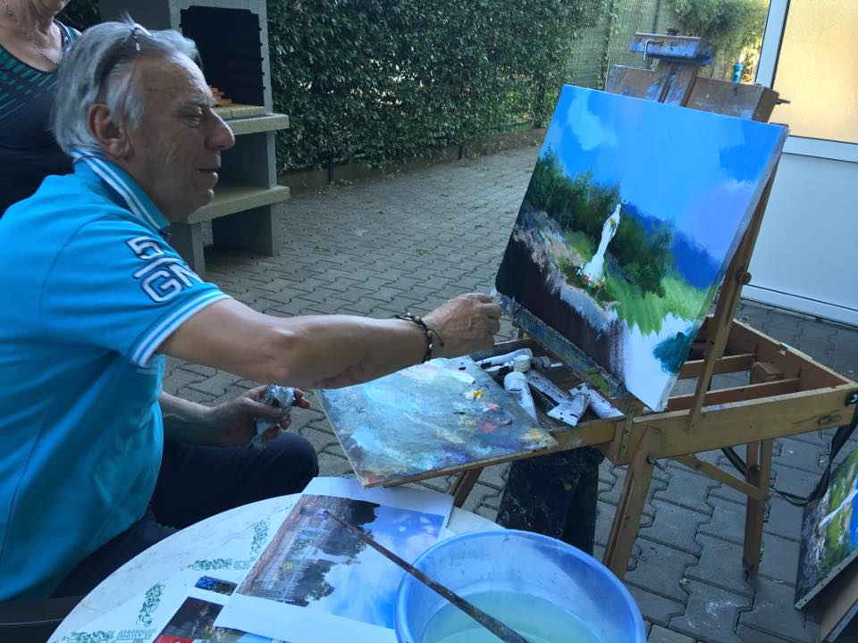 Gianfranco Vianello paints a scene from the Medjugorje documentary film Apparition Hill.