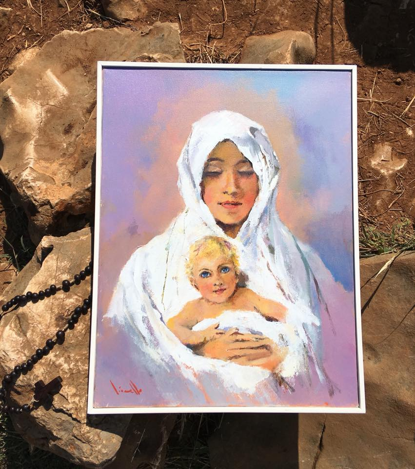 Madonna and Child, painted in Medjugorje by Italian artist Gianfranco Vianello.