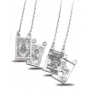 Sterling Silver Two Piece Scapular Medals