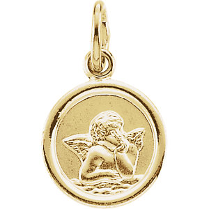 14K Gold Round Angel Pendant Pendant