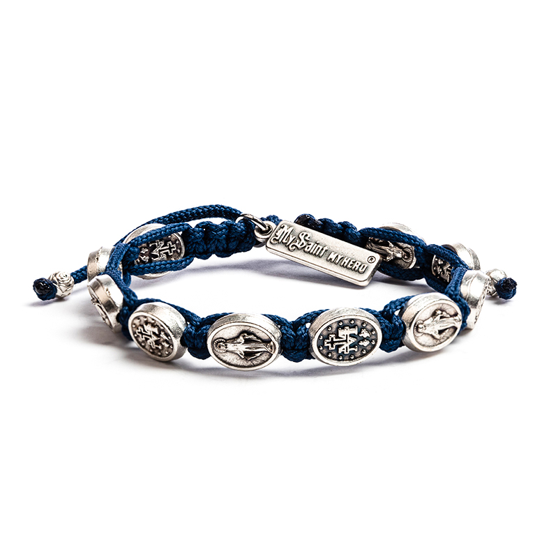 Miraculous Mary Blessing - Navy - Silver