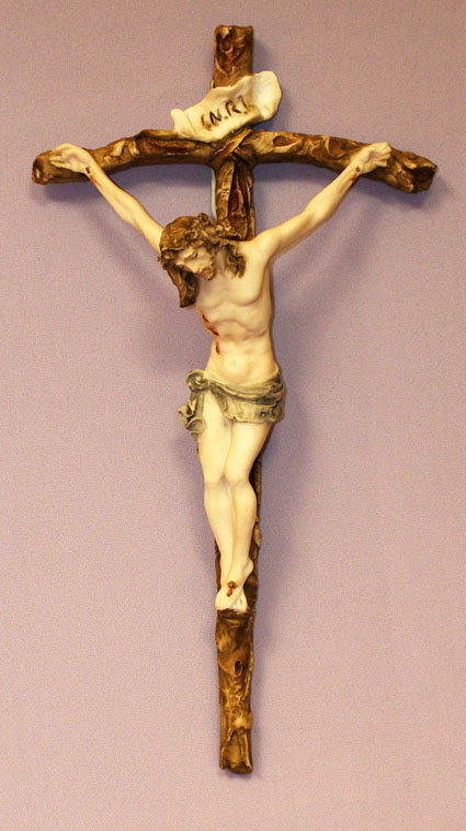 """Crucifix By Santini Hand-Painted Alabaster 11.5"""""""