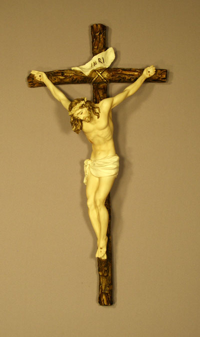 Crucifix By Ado Santini Hand-Painted Alabaster 16""