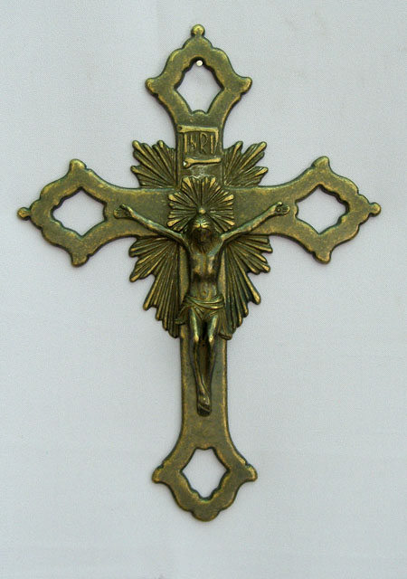Ornate Crucifix Antiqued Brass 11.5""