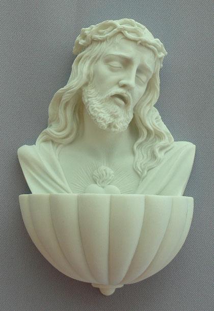 """Sacred Heart Of Jesus Font White Alabaster 5.5"""""""
