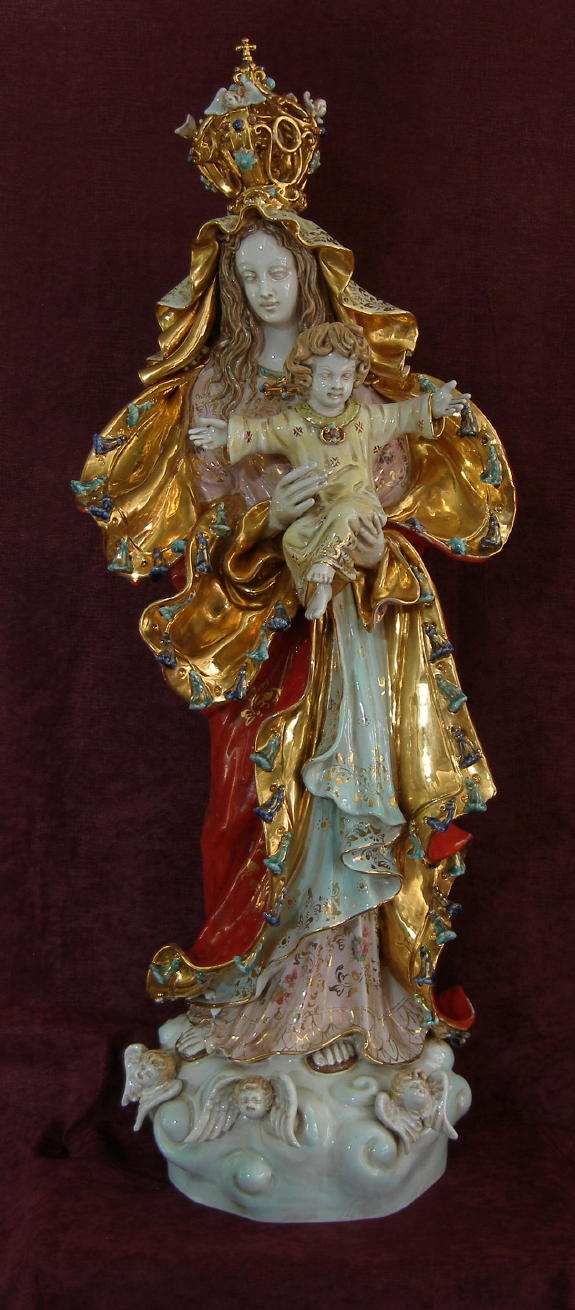 Our Lady Queen Of Peace Madonna And Child Hand-Painted Ceramic 14X38""
