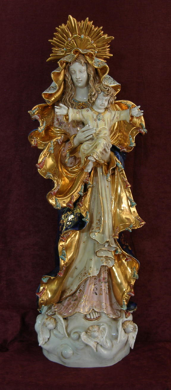 Our Lady Queen Of Peace Madonna And Child Hand-Painted Ceramic 14X36""