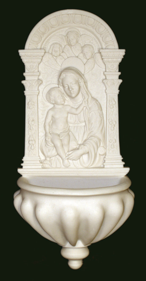 """Madonna And Child With Angels Font White Alabaster 14"""""""