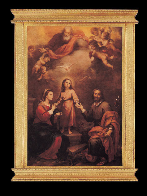 Holy Family With God The Father And Holy Spirit By Murillo Framed Florentine Plaque 22X30""