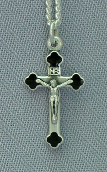 "Black Crucifix Necklace 1"" Cross 24"" Chain"