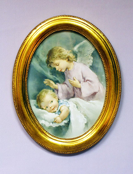 "Guardian Angel Watching Over Infant Plaque 9"" X 11"""